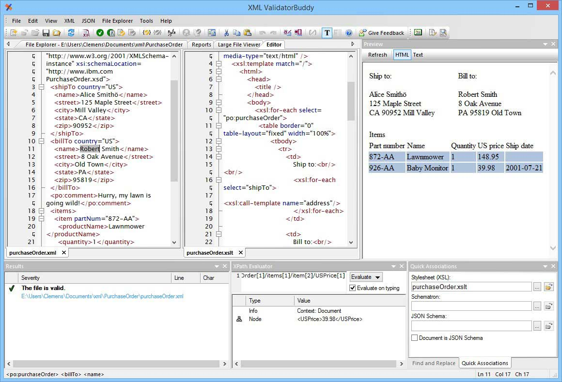 XML editor and validator application