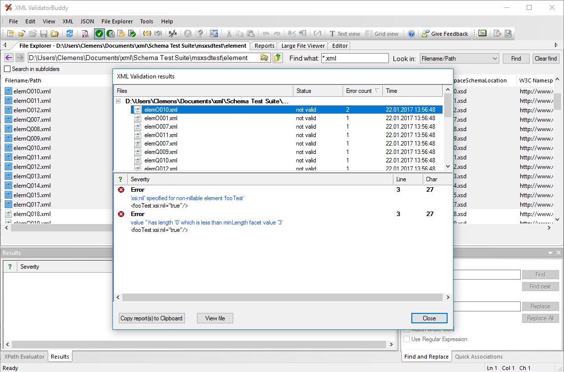 Quick checking of multiple XML documents results dialog