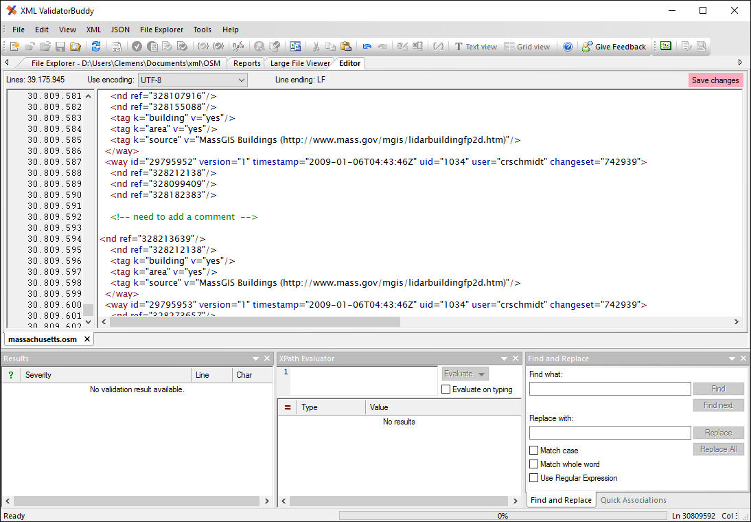 Large XML file editor and validator