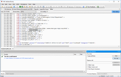 Editor and validator for large XML