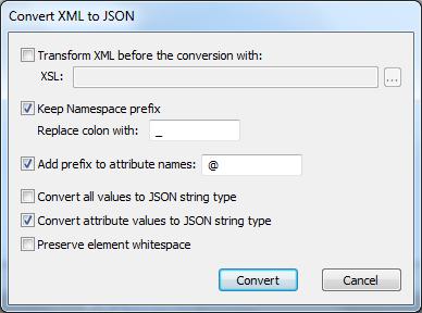 JSON-XML conversions