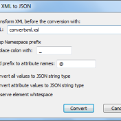 XML to JSON options dialog