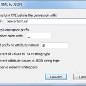 XML to JSON options dialog