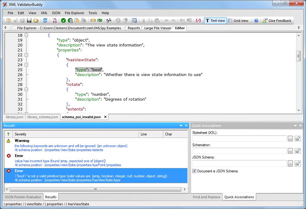 JSON schema errors