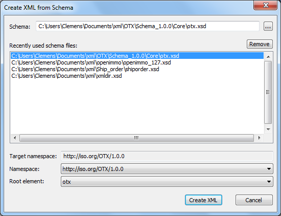 Create xml from schema dialog