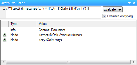 XPath to find Oak as word